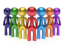 Teamwork characters individuality men crowd leadership icon Royalty Free Stock Photo