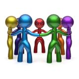 Teamwork circle people social network characters meeting Royalty Free Stock Photography