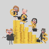 Teamwork climbing money mountain. Easy combine! 4000 x 4000 / 300 dpi / Isolate. Custom 3d illustration Stock Photos