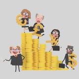 Teamwork climbing money mountain Stock Photos