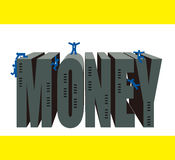 Teamwork : Climbing to the top. Many businessman work hard to climb the top of money city Stock Images