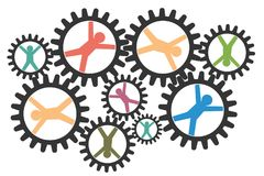 Teamwork, collaboration concept with cogwheels vector illustration. vector illustration