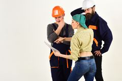 Teamwork and collaboration. Construction workers team. Men and woman builders working in team. Professional people. Teamwork and collaboration. Construction stock photos