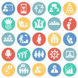 Teamwork and collaboration set on color circles background. Icons royalty free illustration