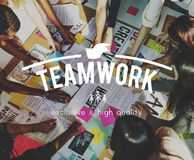 Teamwork Collaboration Togetherness Association Concept. Students are brainstorming in a group work Royalty Free Stock Photos