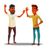 Teamwork, Colleagues Giving Five To Each Other Vector. Isolated Illustration vector illustration