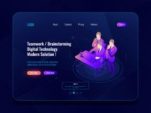 Teamwork and collective meeting, office workflow, brainstorm concept isometric icon, code review, engineer, programmer. Laptop vector royalty free illustration