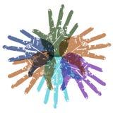 Teamwork color hands around Stock Image