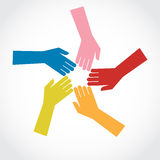 Teamwork. Colorful human hands, teamwork concept Vector Illustration