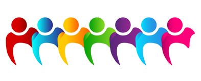 Teamwork people standing together logo royalty free stock images