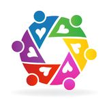 Teamwork colorful people working together logo. Teamwork colorful people working together with love logo vector image logotype id design graphic illustration Royalty Free Stock Photography