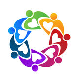 Teamwork colorful people working together logo. Teamwork colorful people working together .Solidarity ,community and cooperation logo vector Royalty Free Stock Image