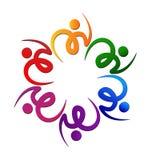Teamwork colorful swooshes flower logo Royalty Free Stock Photos