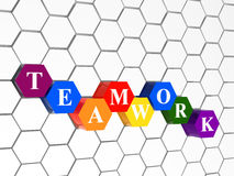 Teamwork colour hexahedrons, cellular structure. 3d colour cubes hexahedrons with white letters - teamwork, in cellular structure Royalty Free Stock Photos
