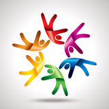 Teamwork  with colourful circle Stock Image