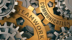 Teamwork communication. words imprinted on metal surface 3d illustration. Gold and silver gear weel vector illustration