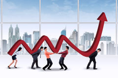 Teamwork with company business chart stock illustration