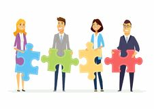 Teamwork in a company - modern cartoon people characters illustration. With smiling businesspeople holding puzzle pieces and standing together. Creative Royalty Free Stock Photo