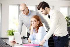 Teamwork with computer Royalty Free Stock Photography