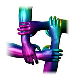 Teamwork concept. Colourful people hands overlapping to show teamwork and unity. Isolated on a white background Stock Photography
