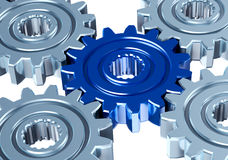 Teamwork concept. Gears with connective different element. Teamwork concept Stock Photos