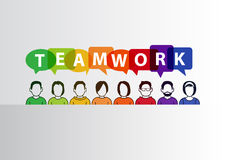 Teamwork concept as  illustration of group of people working together Stock Image