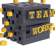 Teamwork concept - black cube assembly Stock Photos