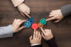 Teamwork concept on the brown wooden table background Stock Photography