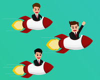 Teamwork concept, Businessman flying on a rocket startup to success Royalty Free Stock Photos