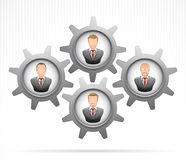 Teamwork Concept : Businessman working together. Vector illustration businessman in gears as concept of teamwork Stock Photo