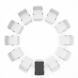 Teamwork concept. Chairs are located in the form of a circle. Stock Image