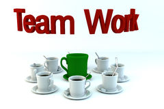 Teamwork concept from coffe cups. Teamwork concept from coffee cups on white background Royalty Free Stock Image
