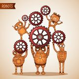 Teamwork concept with cogs and gears Stock Photo
