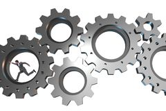 The teamwork concept with cogwheels and business people. Teamwork concept with cogwheels and business people Royalty Free Stock Image