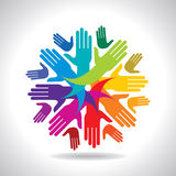 Teamwork concept with colourful hands Stock Image