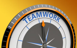 Teamwork concept. Compass and an arrow pointing to the word teamwork Stock Images