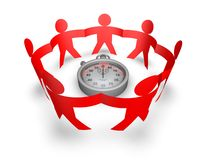 Teamwork concept with 3d people holding hands and clock Stock Image