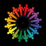 Teamwork concept. Different colored people holding hands to form a circle, diversity and teamwork concept Royalty Free Stock Image