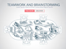 Teamwork Concept with . Doodle design style Stock Images
