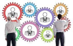 Teamwork concept drawn by businessmen Stock Photos