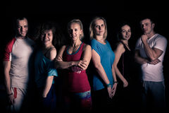 Teamwork concept.Fitness workout team motivation.Group of athletic healthy adults in gym .United fitness and aerobic trainers. Fitness workout team motivation Stock Image