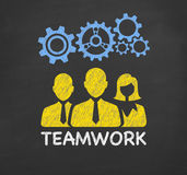 Teamwork Concept Gear on Blackboard Royalty Free Stock Photography