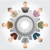 Teamwork Concept : Group of bussinessman. Vector illustration businessman in gears as concept of teamwork Stock Photos