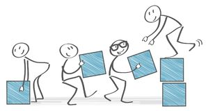 Teamwork concept illustration with stick figures. Collaboration and teamwork, team stacking boxes stock illustration
