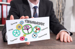 Teamwork concept on an index card Royalty Free Stock Images
