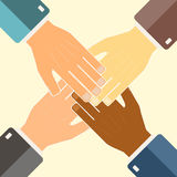Teamwork concept. Join hands support together. International par Stock Images