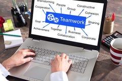 Teamwork concept on a laptop screen. Teamwork concept shown on a laptop screen royalty free stock photos
