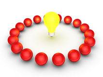 Teamwork concept with a light bulb at the center Royalty Free Stock Image