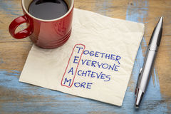 Teamwork concept on napkin. TEAM acronym (together everyone achieves more), teamwork motivation concept - a napkin doodle with a cup of coffee royalty free stock photo