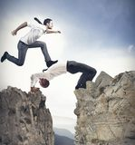 Teamwork concept. Concept of teamwork and partnership with businessman like a bridge Stock Images